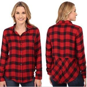 Lucky Brand plaid button down split shirt Sz S